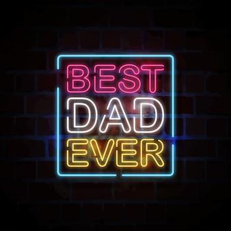 Beste vader ooit neon stijl teken illustratie