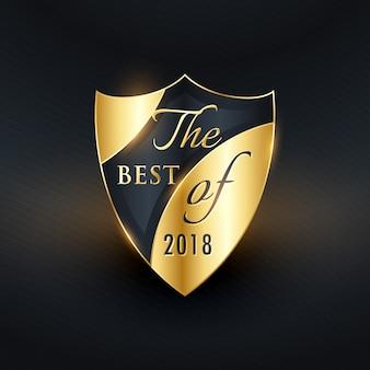 Beste van het jaar gouden badge of label vector ontwerp