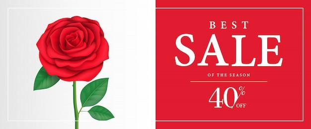 Beste verkoop van seizoen, veertig procent korting banner met roos op rode achtergrond.