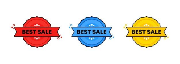 Beste verkoopzegel. vector. beste verkoop kentekenpictogram. gecertificeerd badge-logo. stempel sjabloon. etiket, sticker, pictogrammen. vectoreps 10. geïsoleerd op witte achtergrond.