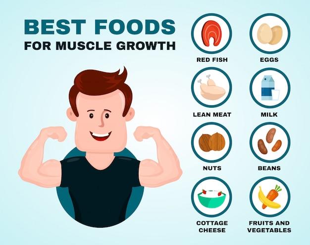 Beste voedingsmiddelen voor spiergroei infographic.
