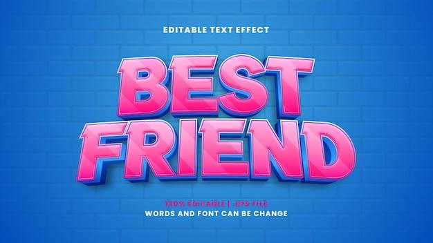 Beste vriend bewerkbaar teksteffect in moderne 3d-stijl