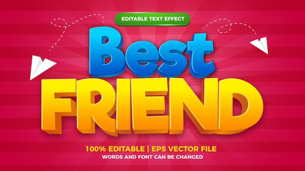 Beste vriend cartoon komische bewerkbare teksteffect stijl template.jpg