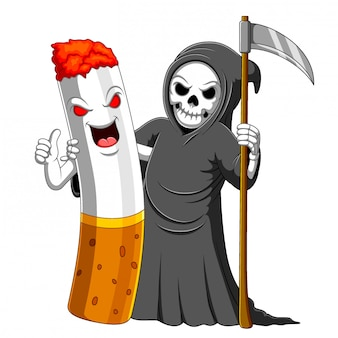 Beste vriend van sigaret en een grim reaper-karakter