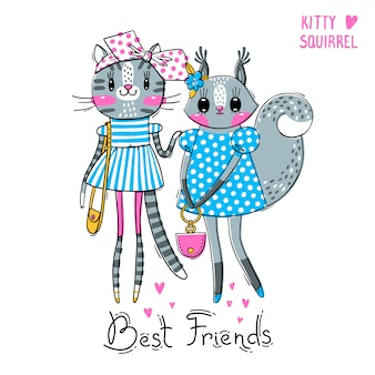 Beste vrienden. baby kitten en eekhoorn in modieuze kleding.