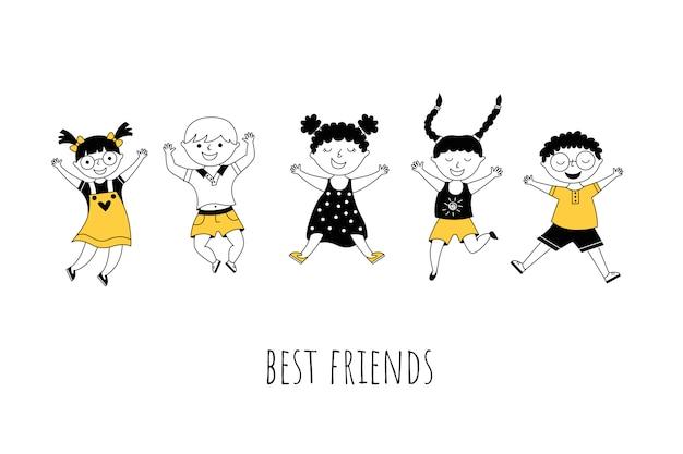Beste vrienden cartoon illustratie met typografie