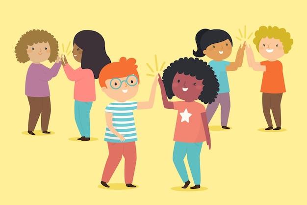 Beste vrienden die high five geven