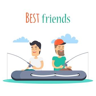 Beste vrienden die op opblaasbare boot vissen