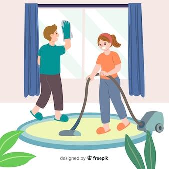 Beste vrienden doen samen huishoudelijk werk geïllustreerd