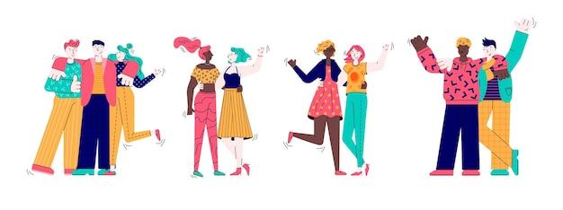 Beste vrienden hand in hand en knuffelen illustratie