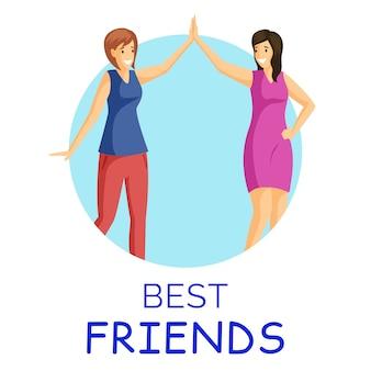 Beste vrienden, lachende vrouwen vlakke afbeelding. meisjes geven high five in cirkelvormig frame. positieve emoties, goed humeur, vrouwelijke vrienden stripfiguren geïsoleerd op wit
