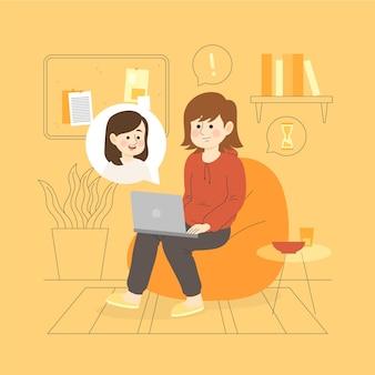 Beste vrienden met elkaar praten via laptops