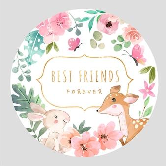 Beste vrienden slogan met coloful bloemen en schattige dieren