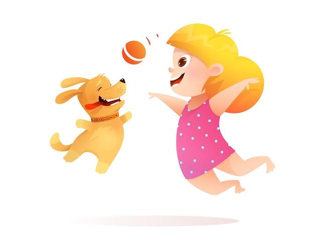 Beste vrienden van babymeisje en hond die samen spelen, puppy die een bal naar een kind haalt