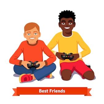 Beste vrienden video gaming samen op de vloer
