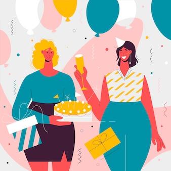 Beste vrienden vieren iemands verjaardagsfeestje