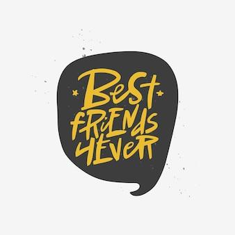 Beste vrienden voor altijd belettering offerte vector borstel kalligrafie