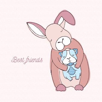 Beste vriendenkaart. kleurrijke hand getekende illustratie met konijn en cavy.