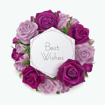 Beste wensen geometrische wenskaart met lila en paarse rozen eronder.
