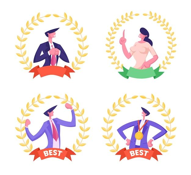 Beste werknemer werknemer set businessmanagers voor mannen en vrouwen binnenkant van golden award