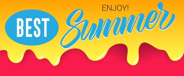 Beste, zomer, geniet van letters op druipende verf. zomeraanbieding of verkoopreclame