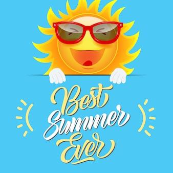 Beste zomer ooit wenskaart met vrolijke cartoon zon in zonnebril
