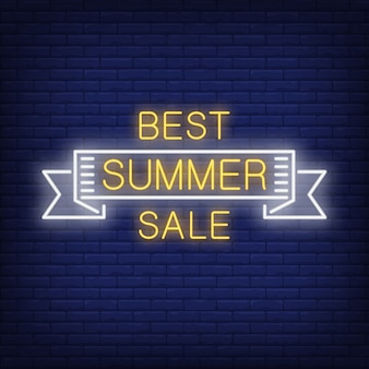 Beste zomerverkoop in neon-stijl. zomer woord binnenkant van wit lint