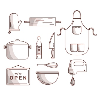 Bestek en keukenaccessoires hand getrokken
