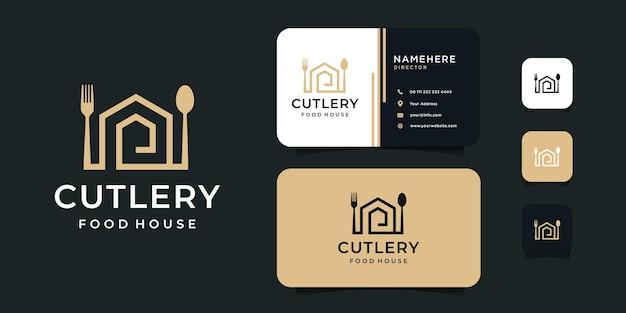 Bestek huis vork en lepel logo ontwerp met sjabloon voor visitekaartjes.
