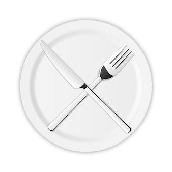Bestekset van zilveren keukenvork, lepel, mes.