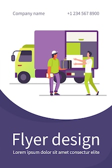 Bestel bezorgservice. koerier pakketdoos geven aan klant in de buurt van vrachtwagen platte flyer-sjabloon