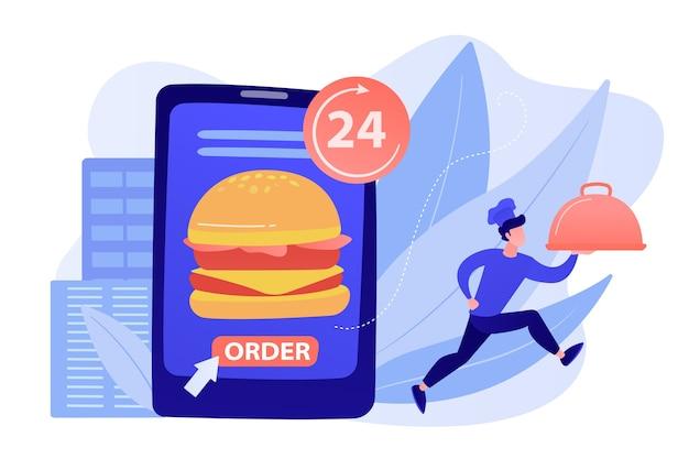 Bestel een enorme hamburger op tablet die 24 uur per dag beschikbaar is en een kok die schotel levert. maaltijdenbezorgservice, online eten bestellen, 24 7 foodserviceconcept. roze koraal bluevector geïsoleerde illustratie