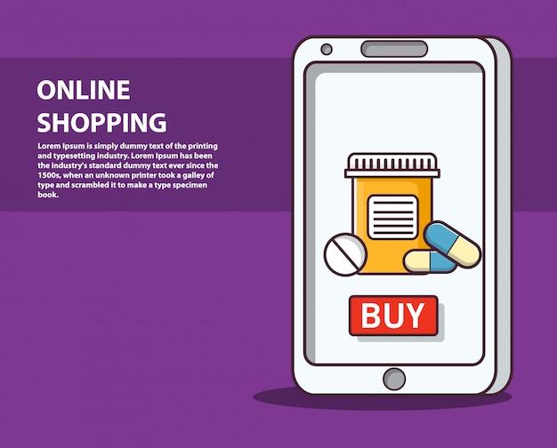 Bestel medicijnen online zakelijke e-commerce koop pillen en flesjes tablet.