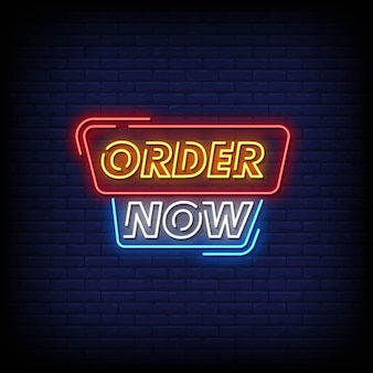 Bestel nu neon signs style text