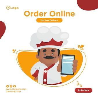Bestel online voedselbannerontwerp met chef-kok die een mobiel laat zien