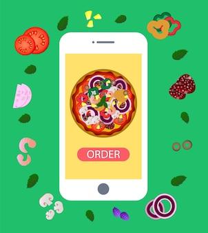 Bestel pizza online op je smartphone. pizza bezorging. pizza met ingrediënten. bestel online. plat ontwerp.