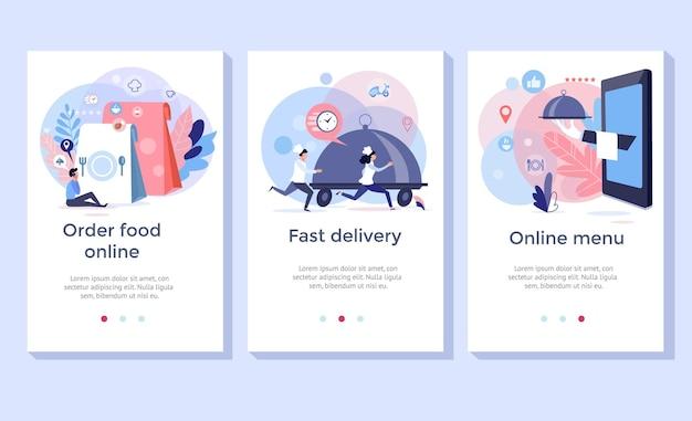 Bestel voedsel online banners, ontwerp van mobiele applicaties, vectorillustratie