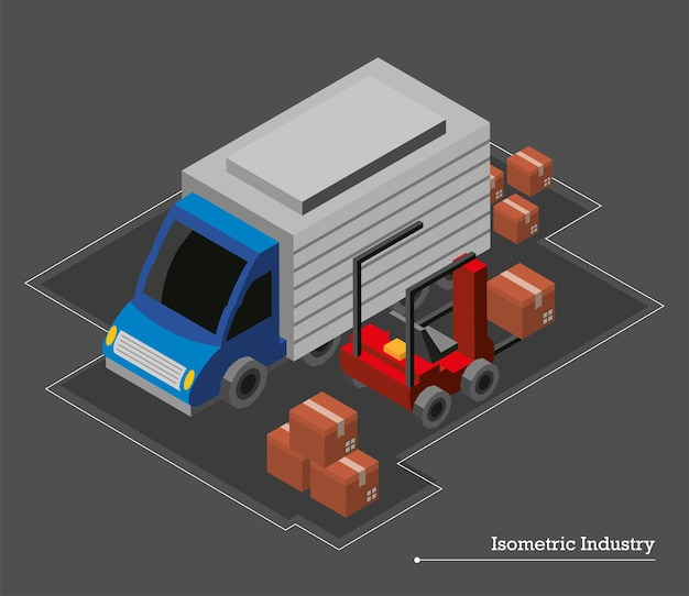 Bestelwagen en vorkheftruck