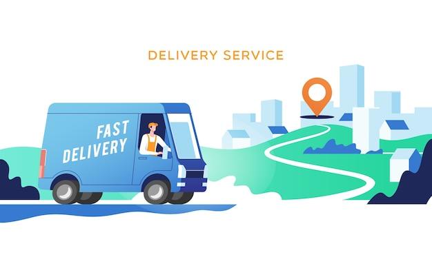 Bestelwagen met man vervoert pakketten op punten.