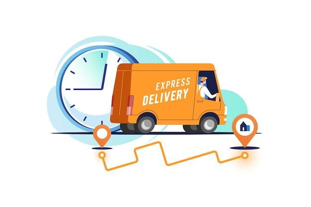 Bestelwagen met man vervoert pakketten.