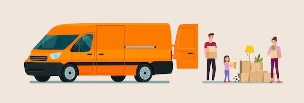 Bestelwagen met open deur
