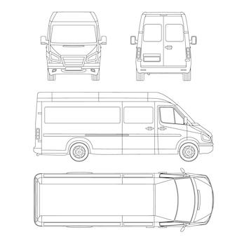 Bestelwagen sjabloon. commercieel voertuig. blauwdruk, tekening, proection, alles bekijken bus