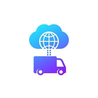 Bestelwagen, vrachtwagen verbonden met cloudpictogram