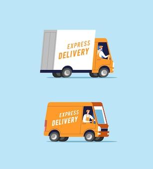 Bestelwagens met mannen die pakketten vervoeren.