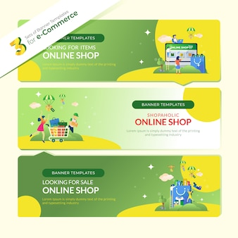 Bestemmingspagina-banner voor e-commerce in 3 sets bundels