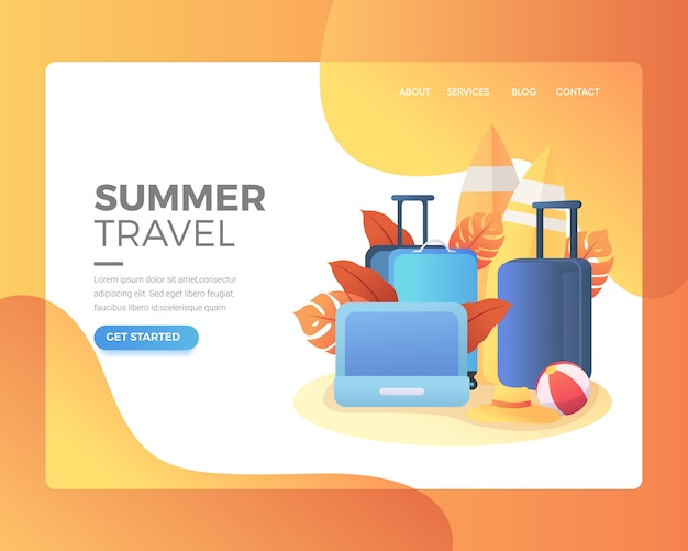 Bestemmingspagina bestemmingspagina van een verzameling bagage voor vakanties
