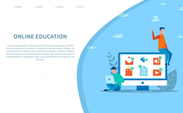 Bestemmingspagina die online onderwijs aanbiedt