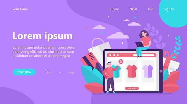 Bestemmingspagina, gelukkige mensen die kleding online kopen. t-shirt, procent, klant platte vectorillustratie. e-commerce en digitale technologie concept
