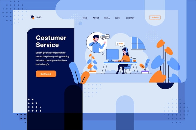 Bestemmingspagina klantenservice waar bellen van consumenten plat en overzichtsillustratie is