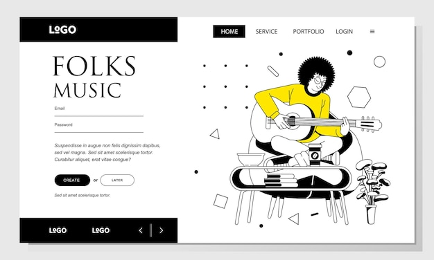 Bestemmingspagina lijn kunst vectorillustratie van een man met afro haar gitaar spelen